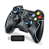 Manette sans Fil, EasySMX 9103 2.4G Manette PC Connectée par USB, Manette PS3 avec Dualshock et Turbo, Compatible pour PC Windows...