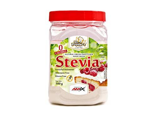 AMIX - Stevia Mr. Poppers - Endulzante Natural - Producto Sin Calorías - Endulza Postres y Bebidas - Apto para Diabéticos - Sin Aromas Artificiales - Saborizantes sin Azúcar Multicolor, 500 Gr