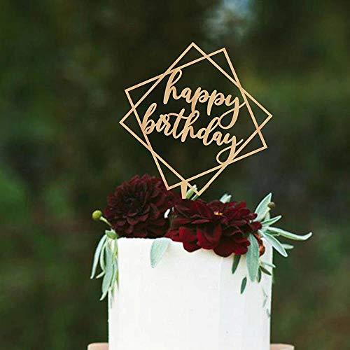Yoin Geometrische Happy Birthday Cake topper, Cake Toppers voor Verjaardag, Rustieke Unieke Creatieve Cake Topper, Verjaardag Party Decor benodigdheden