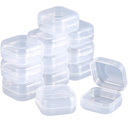 SATINIOR 12 Pack Clear Plastic Beads Storage Containers Box with Hinged Lid for Beads And More (1.37 x 1.37 x 0.7 Pollici)