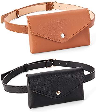 D LerBung 2 Pieces Womens Fanny Pack Leather Belt with Removable Belt Waist Pouch Fashion Belt product image