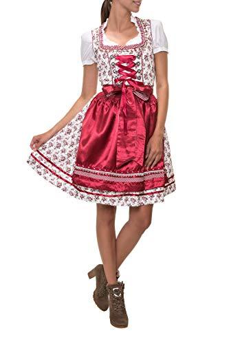 Hailys Damen Dirndl Trachtenmode Trachten Kleid Oktoberfest Wiesn (L, Dark Red)