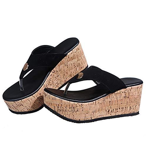 URIBAKY - Sandalias para mujer, transpirables, con tacón compensado, zapatillas de ocio al aire libre, Negro (Negro ), 40 EU