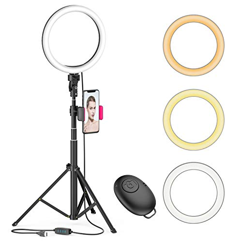"8"" LED Selfie Ring Light for Live Stream/Makeup/YouTube Video, Dimmable Beauty Ringlight with Tripod Stand and Phone Holder Compatible with iPhone/Android"