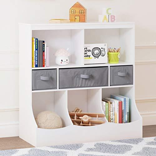 UTEX Toy Storage Organizer with Bookcase, Kid's Bin Storage Unit with 8 Compartments &3 Baskets Bins, Toys Box Organizer, Kid's Multi Shelf Cubby for Books,Toys