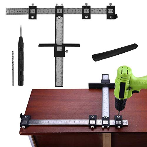 Adjustable Cabinet Hardware Jig Template Quick Release Punch Locator Drill Guide Kit Wood Jigs Drilling Dowelling Guide for Installation of Handles, Knobs On Doors Drawer Pull