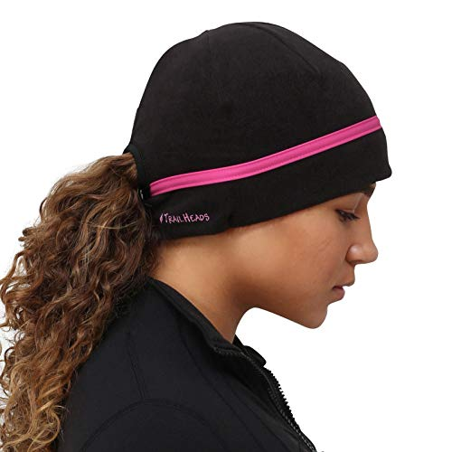TrailHeads Women's Ponytail Hat | Reflective Cold Weather Running Beanie | Made in USA (Pink Reflective)