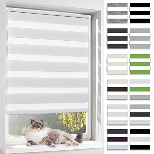 BelleMax Doppelrollo klemmfix ohne Bohren, Duo Rollo mit Klemmträgern, lichtdurchlässig und Sonnenschutz Rollos für Fenster und Tür, 65x150cm(BxH) Weiss
