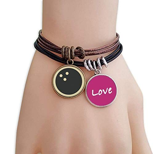 YaoX Bowling Sport Armband mit einfachem geometrischem Muster, Liebesarmband, Lederseil, Paar-Set