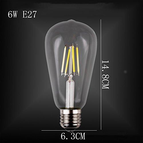 Lamp nikkel filament E27 warmwit spiraal bron lichtbron fotochroom glas helder/kleurrijke lampenkap 2W / 6W AC 220V 330-360 ° stralingshoek (kleur: C)