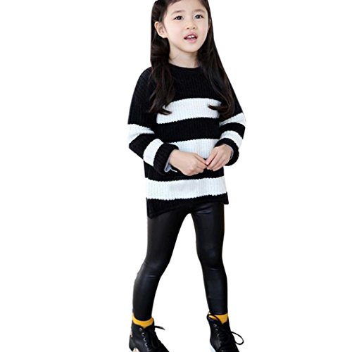 Nevera 100% Brand New and Children Black Artificial PU Leather Elastic Waist Trousers Leggings Kids Classic Baby Girls Pencil Pants (2T, Black)
