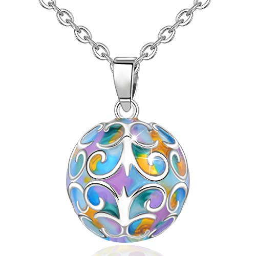 EUDORA Harmony Ball Pregnancy Necklace Colorful Iris Pendant Music Wishing Chime Ball Bola for Mom Baby Best Jewellery Gift, 30 & 45 inches Chain