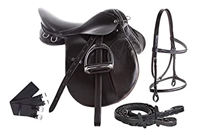 AceRugs Premium Black Leather English All Purpose Jumping Horse Saddle TACK Starter Package Set 15 16 17 18