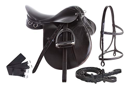All Purpose Black Leather English Riding Horse Saddle Starter Kit (16')