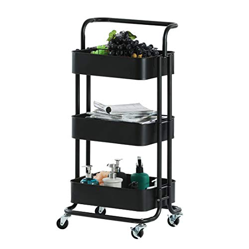 3 Tier Metal Rolling Utility Cart Storage Cart Craft Cart Organizer with Handles Storage Mesh Basket and Brake Wheels Easy Asemble for Kitchen Office Bathroom Bedroom Laundry Room