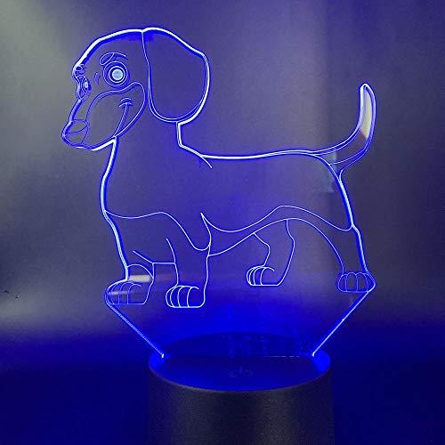 Optische Täuschung Lampe,Dackel, 3D Illusionslichter Led Nachtlicht Optische Lichter Tischlampen Kindernachtlicht Weihnachtsgeschenke.