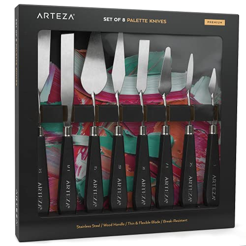 Pack de 8 couteaux à palette Arteza, tailles n°1, 25, 7, 15, 39, 23, 17, 21, lame en acier inoxydable durable et manche en bois résistant, couteaux pour la peinture à l'huile et l'acrylique