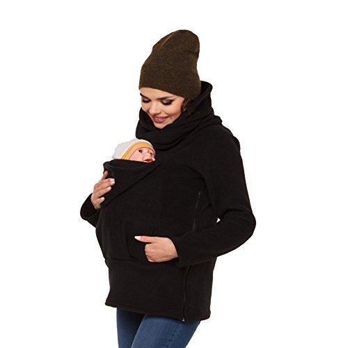 MissChild Damen Babytrage 3 in 1 Baby Carrier Umstandsjacke Hoodies Neugeborene Känguru Jacken Hoodie Freizeitjacke Sweatshirt Mommy Kangaroo Mantel Schwarz Label 2XL (Büste 110-116cm)