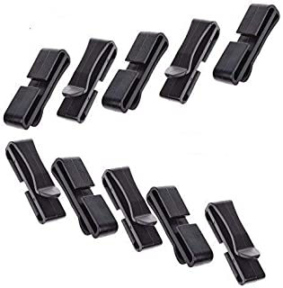 LUTIONS Pack 10pcs Webbing Ending Clip Quick Slip Keeper Connect Buckle Backpack Adjusting Strap Black (1