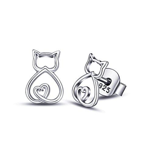 EUDORA Pendientes de Gato de plata de ley 925 con Diseño de Gato, Ideales Como Regalo para Amantes de los Gatos