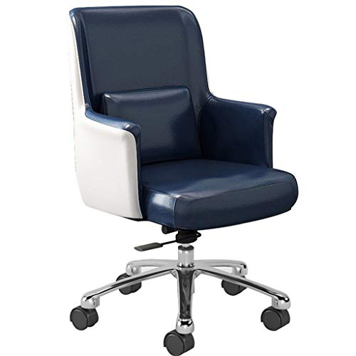 HQBL Ergonomic Home Office Task Swivel Chair|Mid-Back Height Adjustable Leather Comfortable Seat|90-120° Tiltable with Arms and Lumbar Support|for Small Spaces