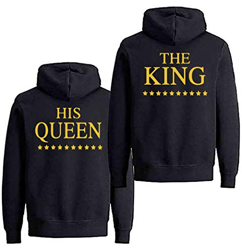 King Queen Hoodies Couples Matching Couple Pull Sweatshirt His & Her Hoodies pour Couples Set Coton Noir 1 PC (Or-King, S)