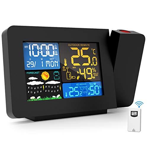 Gafild Wetterstation Funk mit Außensensor, Digitale Funk Thermometer-Hygrometer mit Außensensor, LCD Farbdisplay, HygrometerUSB Barometer, Mondphase, Nachtlicht, Alarm/Snooze für Zuhause Büro
