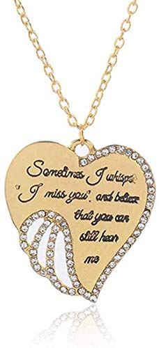 AOAOTOTQ Co.,ltd Necklace Shiny Rhinestone Heart Wing Pendant Necklace Lover S Honeyed Words Carved Angel Wings Charm Necklace Memorial Gift Jewelry