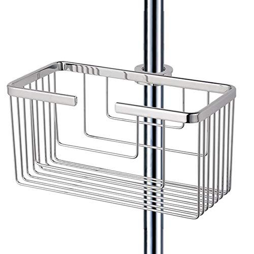 Kibath 131614 Portagel cesta de ducha y bañera ALVA sin taladros, sin adhesivos, fabricada en latón ligera con acabado en cromo brillo. Sujección frontal, 25cmx13cmx12cm