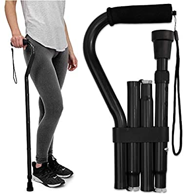 RMS Folding Cane with Offset Foam Handle, Adjustable Walking Stick with Carrying Pouch (Black) from Royal Medical Solutions