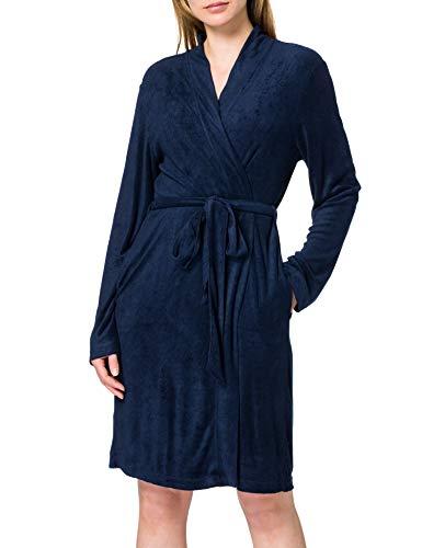 Schiesser Damen Sleep + Lounge Mantel, 95 cm Bademantel, Nachtblau, 38