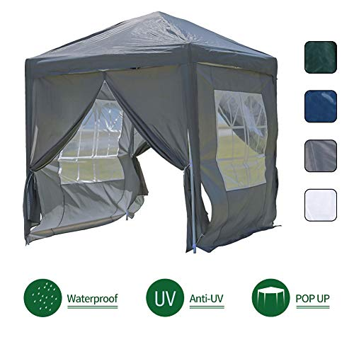 OFCASA 2M x 2M Garden Gazebo with Side Panels Powder Coated Steel Frame Waterproof Event Shelter Tent for Outdoor Wedding Garden Party Camping,Grey