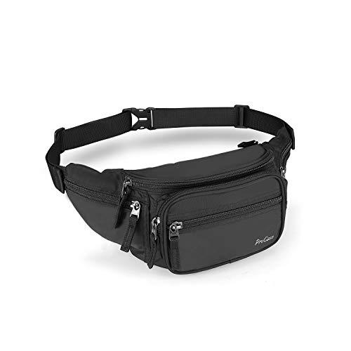 ProCase Marsupio Uomo con 6 Tasche, Waist Fanny Pack Bag in Nylon con Cinturino Regolabile e Fibbia a Sgancio Rapido per Corsa Ciclismo Escursione Campeggio -Nero