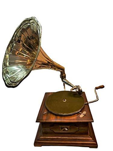 Antique Museum Vintage The Gramophone Co. His Master Voice HMV Brass Horn Wooden Art Desk Décor Turntable Antique Machine Musical Box Phonograph A3BG 025