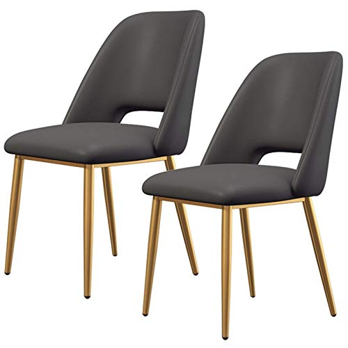 Dining Chairs Set of 2 Counter Corner Kitchen Chairs with Gold Metal Legs and Backrest & Soft Faux Leather Seat for Lounge Office Dining Kitchen (Color : Black)