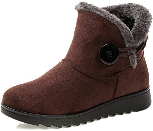 Stivali Donna Invernali Scarpe Stivaletti da Neve con Imbottitura Calda Stivali alla Caviglia Caldi Boots Scarpe Marrone -B 38 EU/245(39) CN
