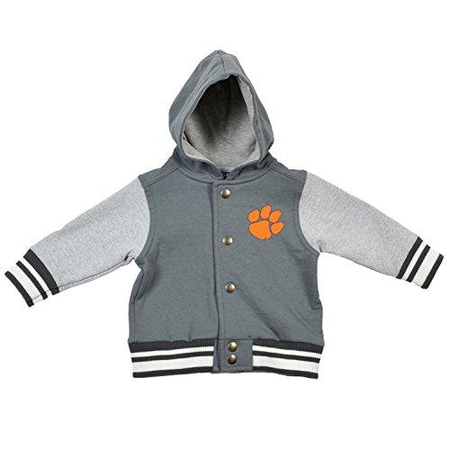 College Kids 15435 NCAA Clemson Tigers Children Unisex Infant Letterman Jacket, 6 Months, Pewter/Oxford