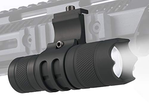 Monstrum 150 Lumens Flashlight with Remote Pressure Switch and Picatinny Rail Mount | Black