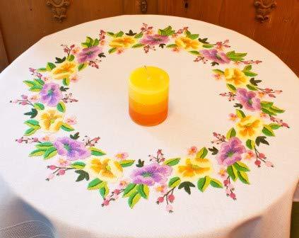 Kamaca - Kit de punto de satén para mantel, juego de punto de algodón, juego de bordado completo con plantilla, en diseño de flores (mantel de 80 x 80 cm)