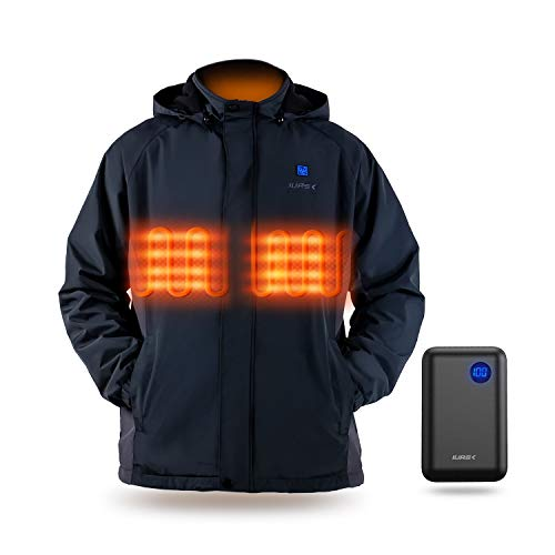 Heated Jacket, IUREK Men's Heated Clothing with 7.4V 10000mAh Battery Pack and Detachable Hood ZD961 XX-Large