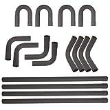 2.25'' 16Pcs Mild Steel Mandrel Exhaust Tubing Pipe Straight & U-Bend For Intake Exhaust