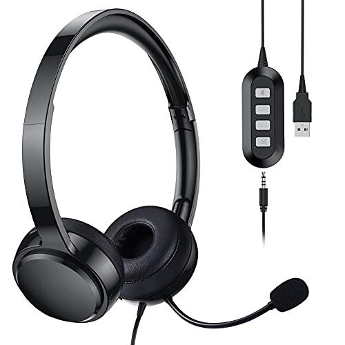 Cuffie USB da 3,5 mm con microfono, Cuffie per computer con funzione mute, Cuffie per PC con cancellazione del rumore per chat Cuffie per ufficio Cuffie per riunioni Call Center Scuola Laptop
