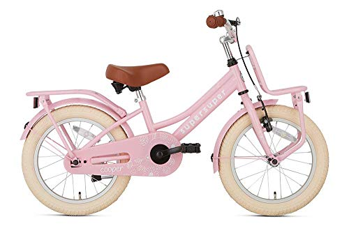 POPAL SuperSuper Cooper Kinder Fahrrad für Kinder | Mädchen Fahrrad 16 Zoll ab 4-6 Jahre| Kinderrad met Stützrädern | Rosa
