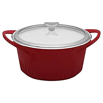 CorningWare Cast Aluminum Dutch Oven with Dual Handles and Glass Cover