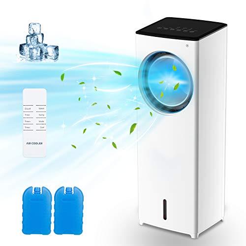 Aires acondicionados móviles, MELOPHY Enfriador de Aire mit 3 Velocidades, Climatizador con Ruedas y Tanque de Agua 5L, Aire Refrigerador Temporizador, Mando a Distancia