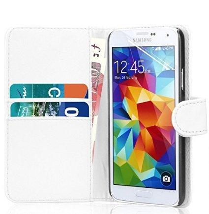 PU funda de piel para Samsung Galaxy A3 recién lanzado/A5/A7, Galaxy S6/S6 etidronato, Galaxy Core Prime por RS ACCESSORIZE, piel sintética, Blanco, SAMSUNG GALAXY CORE PRIME