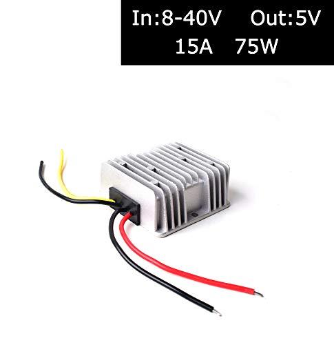 BGoodVision CC 12V 24V 36V a CC 5V Paso Abajo Regulador Convertidor Reductor Adaptador Corriente para Auto Coche Camión Vehículo Barco Solar Sistema - 15A 75W(Acepte CC 8-40V Entradas)