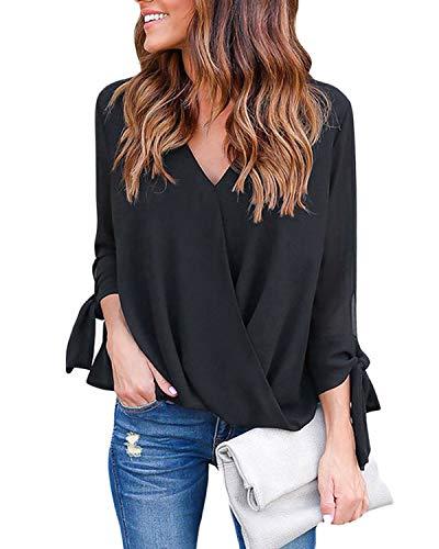 YOINS Damen Chiffon Langarm Bluse Oberteil Elegant Henley Shirt V-Ausschnitt Casual Hemd Lose Asymmetrisch Schwarz L/EU44