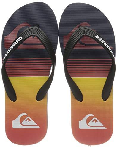 Quiksilver Molokai Slab, Flip-Flop Uomo, Black/Black/Orange, 43 EU