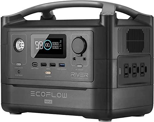EF EcoFlow(エコフロー) ポータブル電源 RIVER Max 576Wh 出力600W(瞬間最大1200W) X-Boost機能付き 高速充電1.6時間 家庭用蓄電池 車中泊 キャンプ 防災グッズ 50Hz/60Hz対応 純正弦波